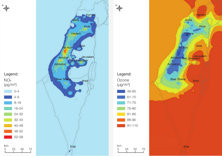 Figure 2: NOx Concentrations in Israel, Based on Integrated Monitoring and Air Quality Models, 2015 (Left)  Figure 3: Ozone Concentrations in Israel, Based on Integrated Monitoring and Air Quality Models,2015 (Right)  Source: Israel Ministry of Environmen