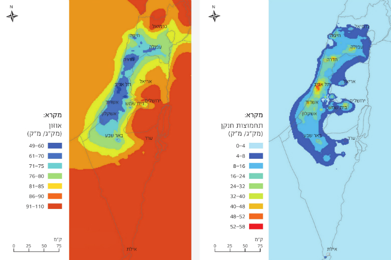 Figure 2: NOx Concentrations in Israel in 2015, Based on Integrated Monitoring and Air Quality Models, Source: Israel Ministry of Environmental Protection. Figure 3: Ozone Concentrations in Israel in 2015, Based on Integrated Monitoring and Air Quality Mo
