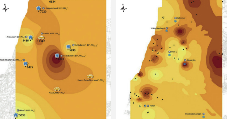 Figure 2: Mapping of Air Pollution in the Tel Aviv Metropolitan Area Using HBM (right), compared with Mapping based on Fixed Monitoring Stations (left)  Source: Lavi et al., 2016(7)