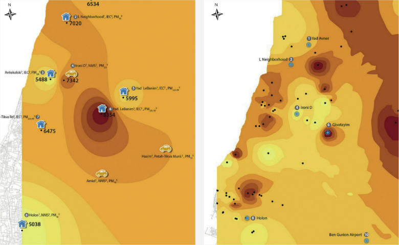 Figure 2: Mapping of Air Pollution in the Tel Aviv Metropolitan Area Using HBM (right), Compared with Mapping Based on Fixed Monitoring Stations (left), Source: Lavi et al., 2016