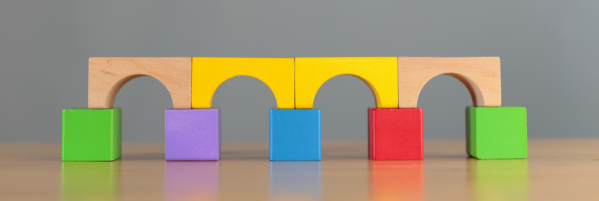 Bridge made of colorful building blocks