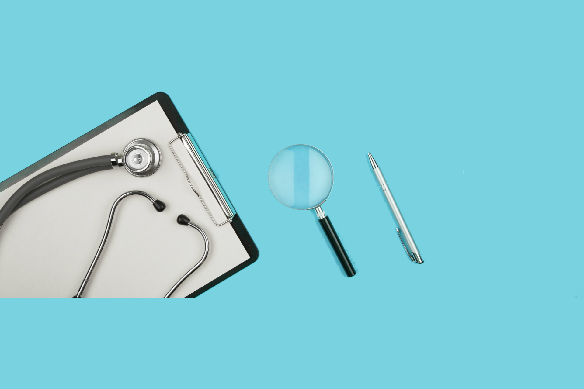 image of stethoscope and magnifying glass