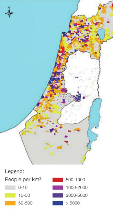 Figure 1: Population Density in Israel, 2008 Source: Levy et al., 2015(8)