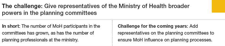Challenge 4: Give representatives of the Ministry of Health broader powers in the planning committees