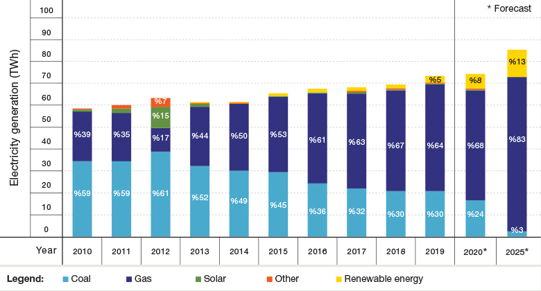 Figure 2: The Changing Mix of Fuels in 2010–2019 and Forecast for 2025