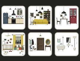 Illustration of house interiors