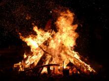 Bonfire, burning wood