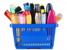 A basket full of different brands of shampoo