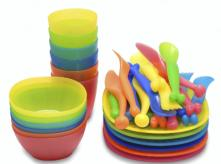 image of plastic tableware used by children