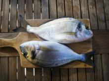 Two fish on a cutting board