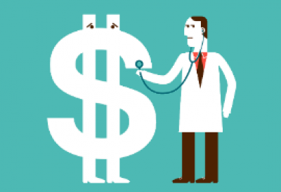 animation of doctor checking up dollar sign