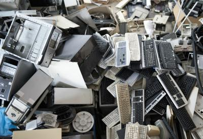 A pile of electronic waste