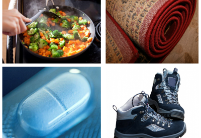 hiking boots, carpet, cooking pan and dental floss