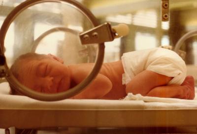 Preemie in incubator